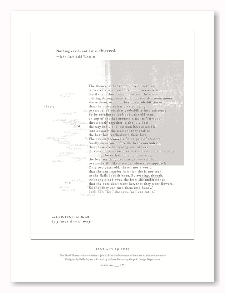 an EXISTENTIAL BEAR by James Davis May  JCSM Poetry Broadside // This broadside was letterpress printed using a metallic translucent ink for the image and grey for the main body. // design