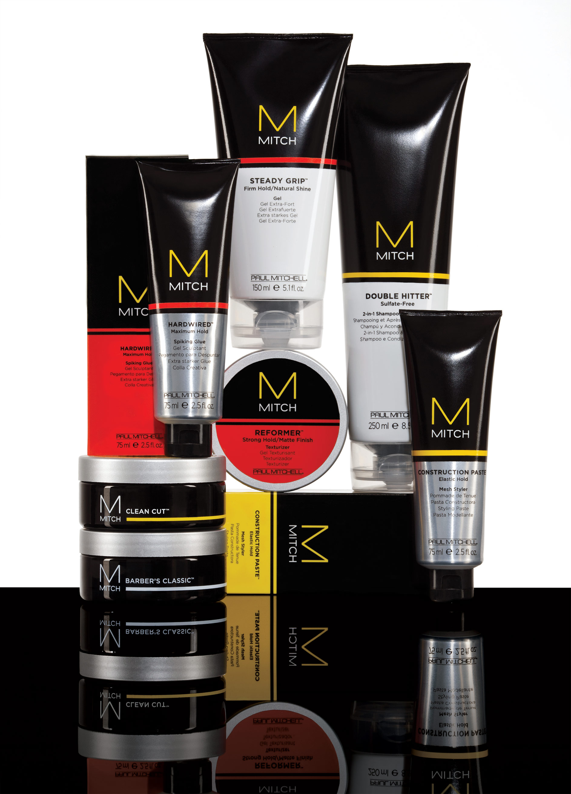 Style isn't born it's groomed!  Mitch Double Hitter  is a great Sulfate free 2 in 1 shampoo and conditioner that is great for all men. It leaves hair silky smooth and is formulated especially for men! This deep cleansing shampoo can also be used as a body wash with a great fragrance any Mitch man, or woman would love!