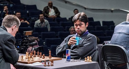 Nakamura vs. Adams, earlier this week in London. Photo: Lennart Ootes,  Grand Chess Tour