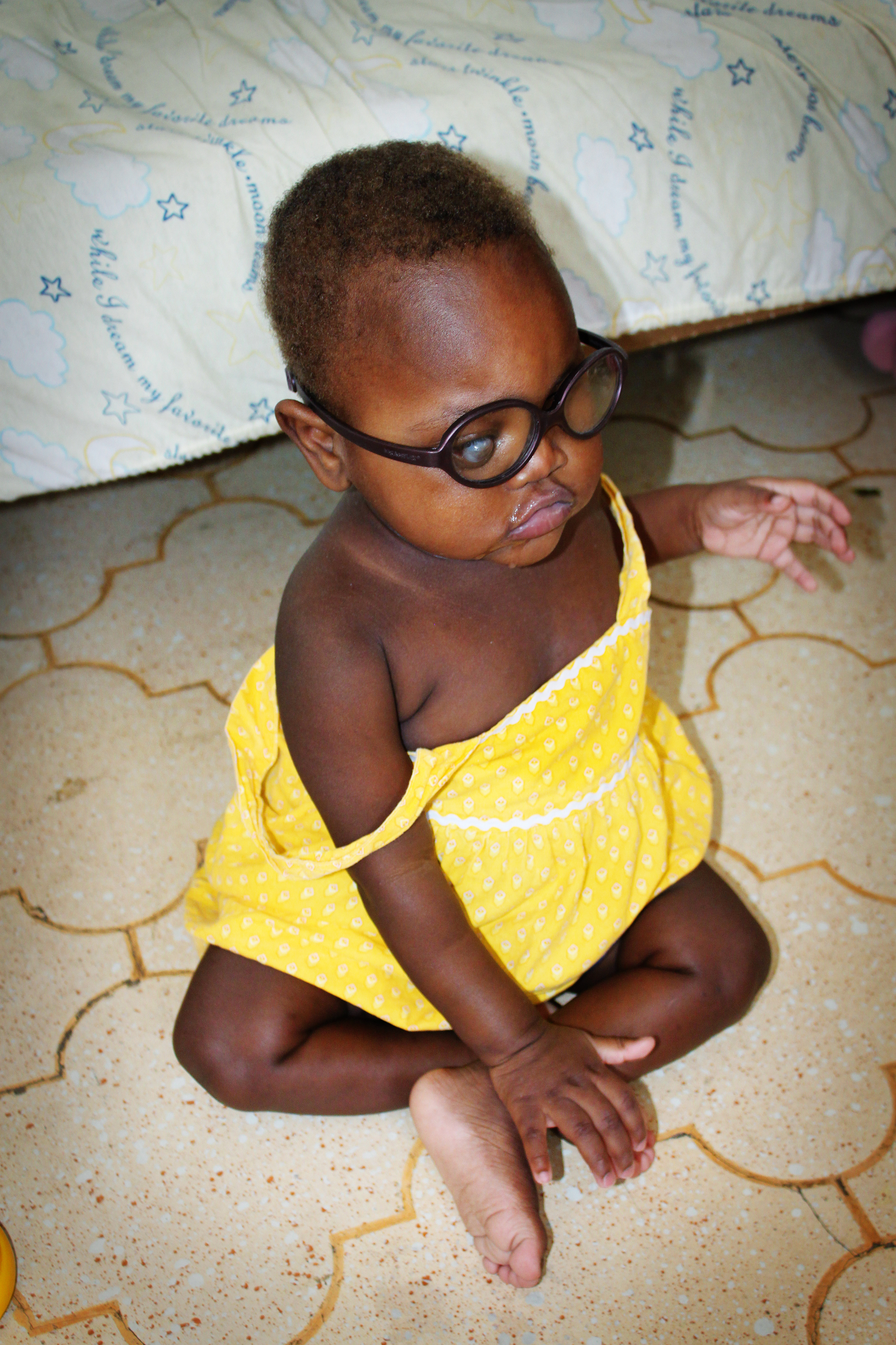 Wearing her protective glasses