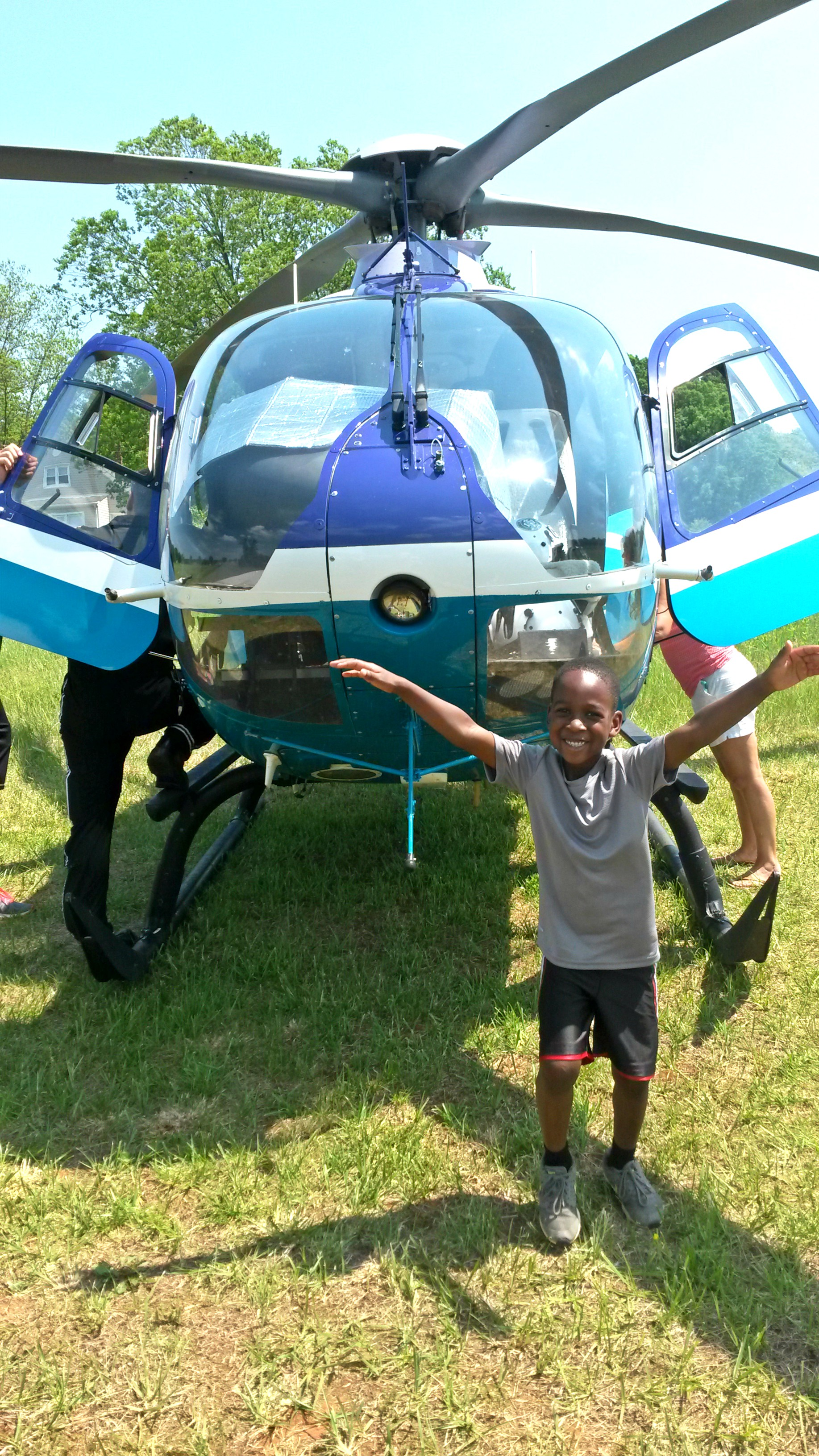 Tre got to check out a medical helicopter when he visited a fire station— looks like he had a great time!
