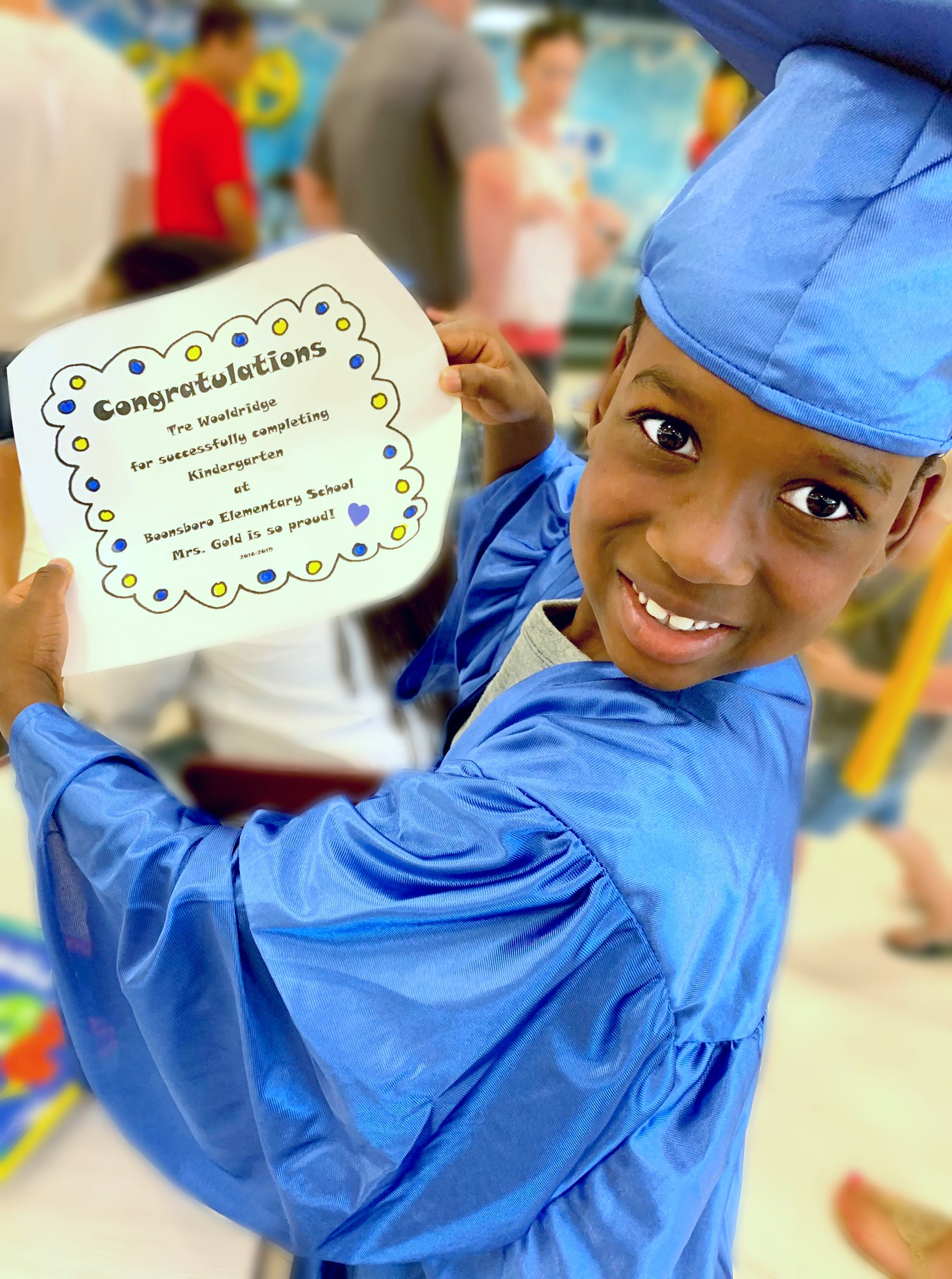 """Graduating from Kindergarten— Tre got awards for """"Awesome Athlete"""" and """"Perfect Attendance!"""""""