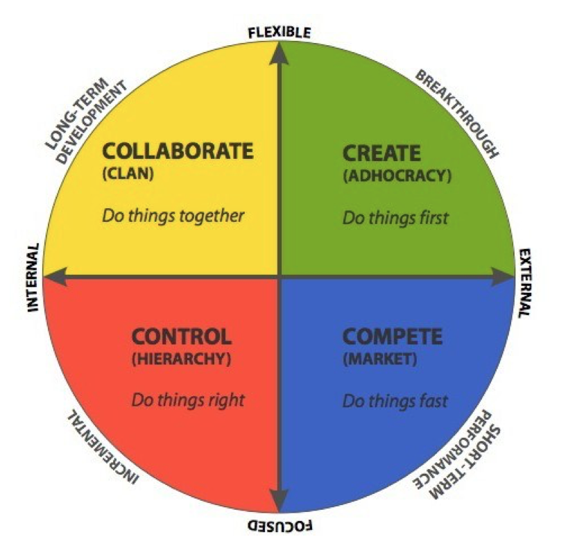 The Competing Values Framework  developed by Quinn and Rohrbaugh