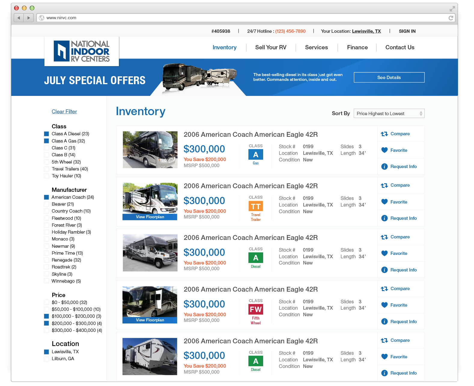 Multi-listing page where you can browse and buy RVs