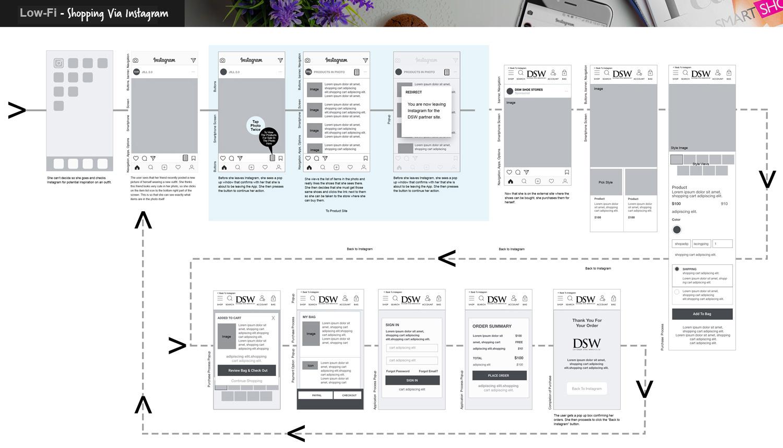 Lo-Fi Flow Prototypes - Shopping Via Instagram