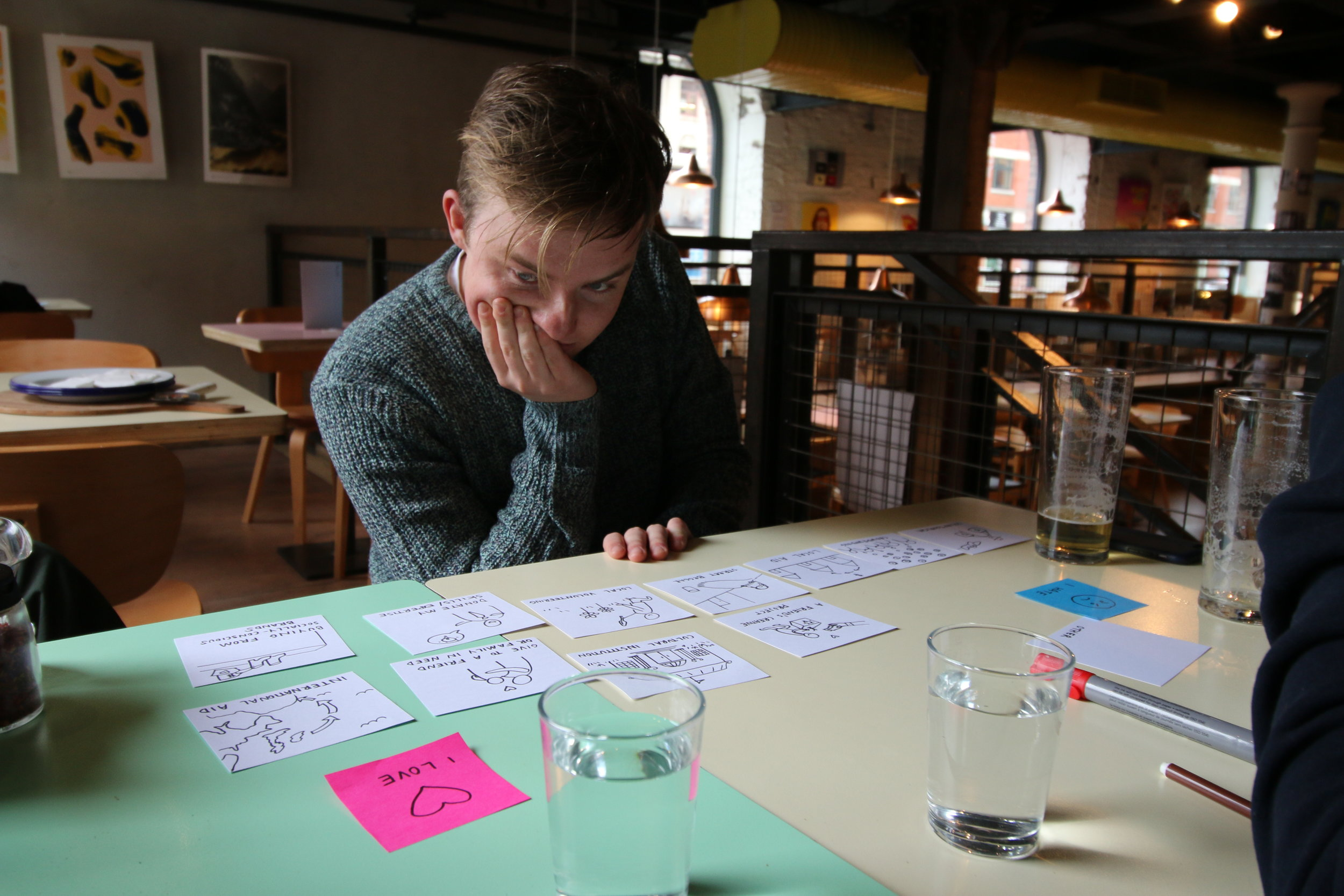 In-depth interview and card sort activity with Jake (23), who provides a free walking tour alternative in Manchester, UK
