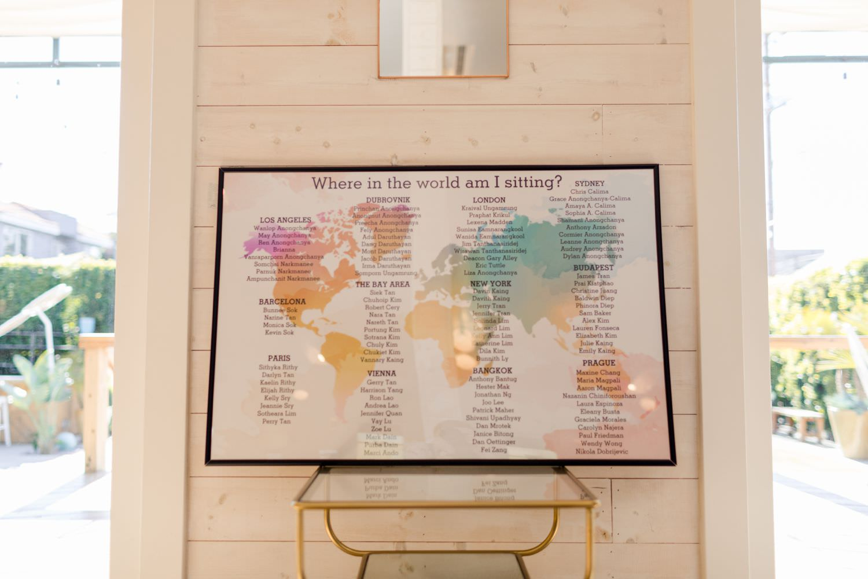 world map seating chart wedding