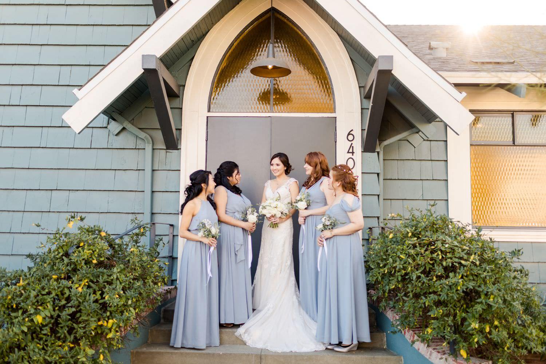 blue bridesmaid's dresses los angeles wedding
