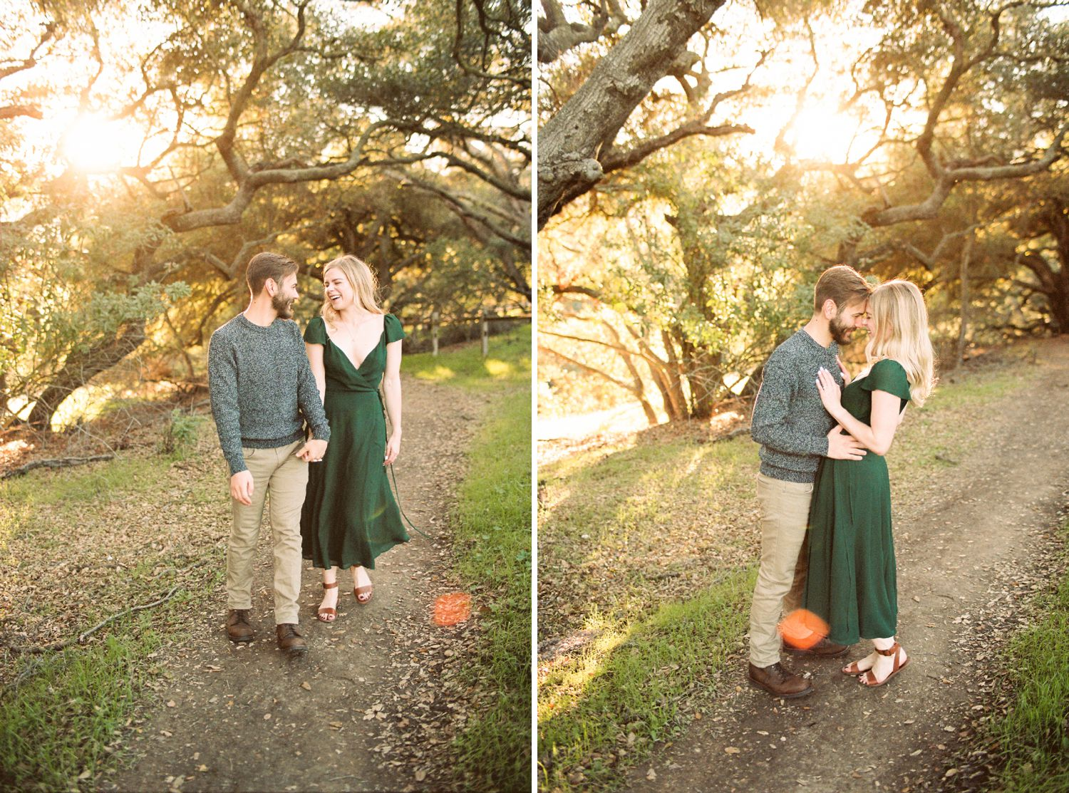 green reformation dress los angeles engagement photos