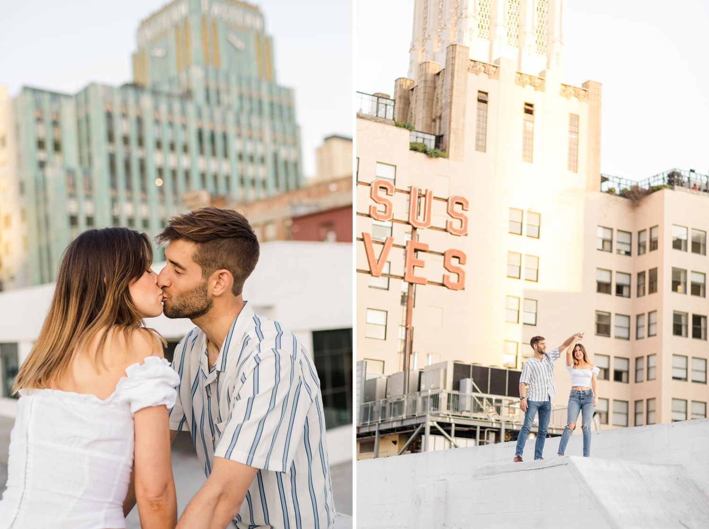 downtown la rooftop engagement photos