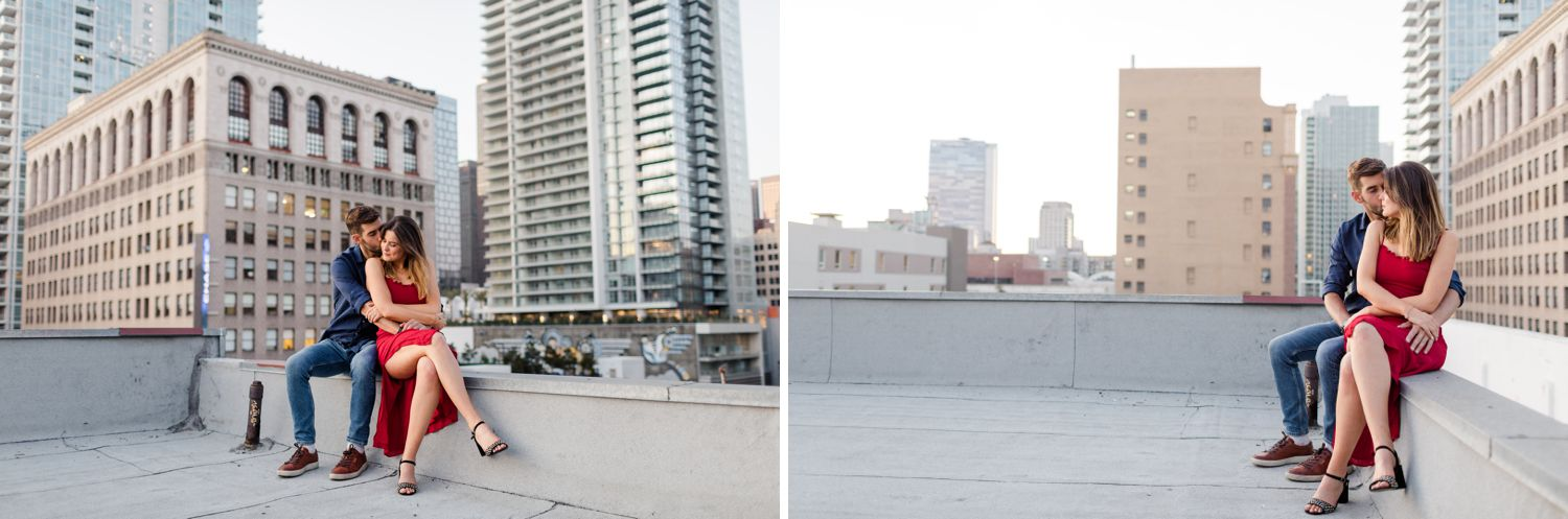parking garage rooftop downtown los angeles wedding photos