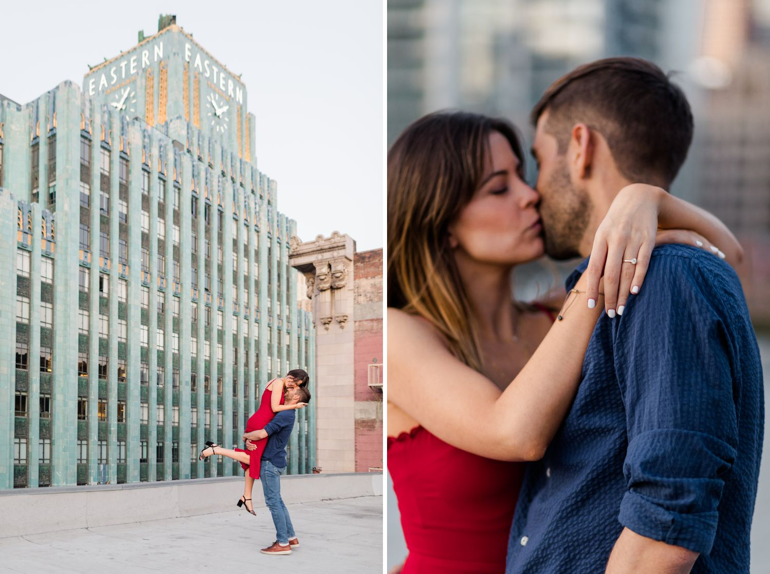 parking garage rooftop downtown los angeles engagement photos