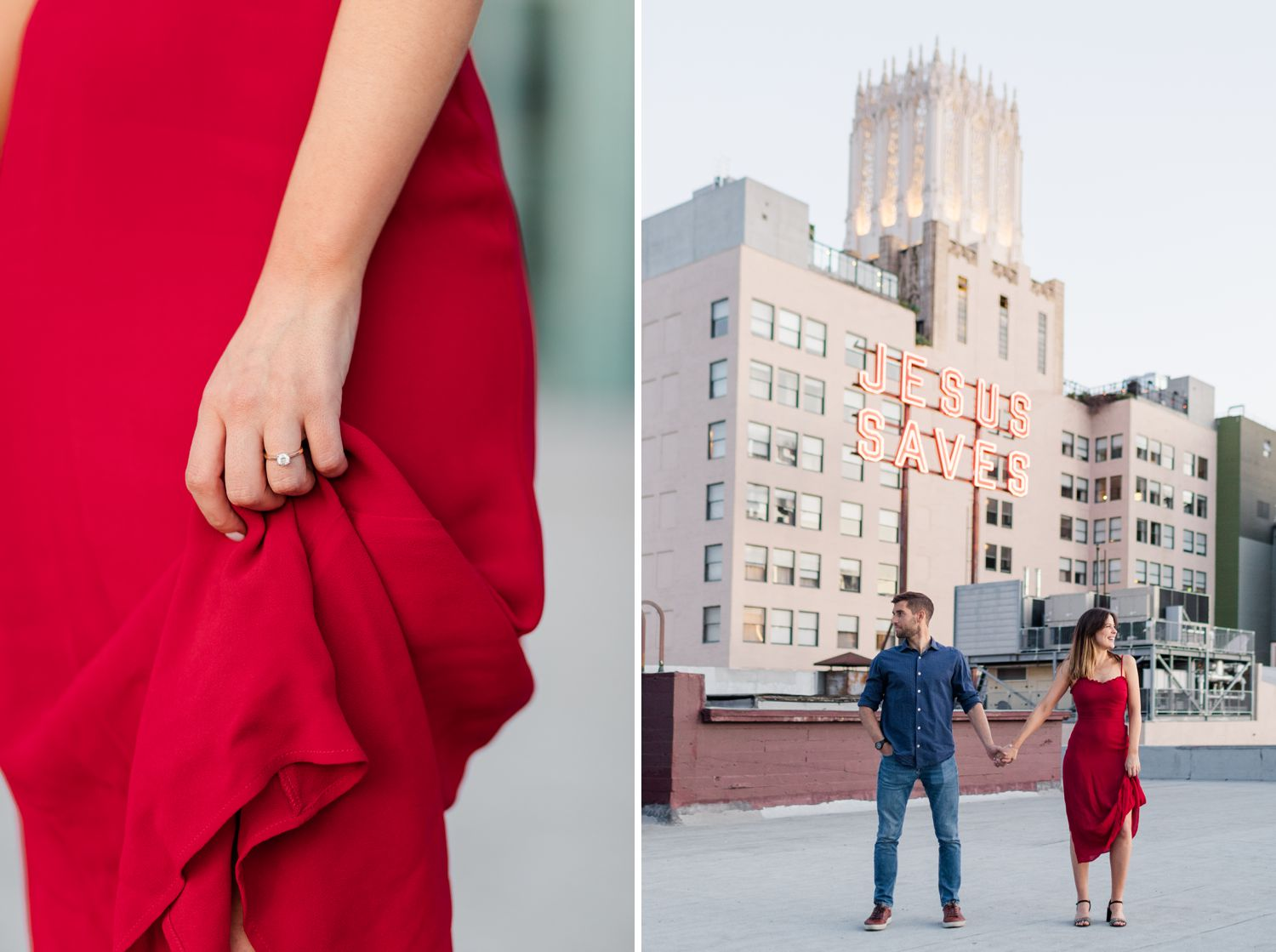 rooftop engagement session california