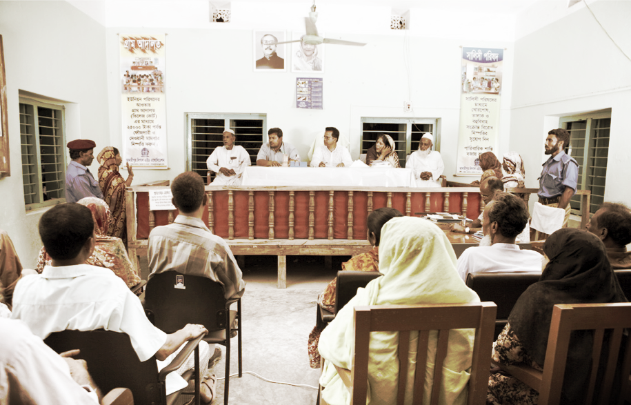 A hearing in a village court in Bangladesh - GJG has been active in supporting primary justice services, such as the village courts in Bangladesh.