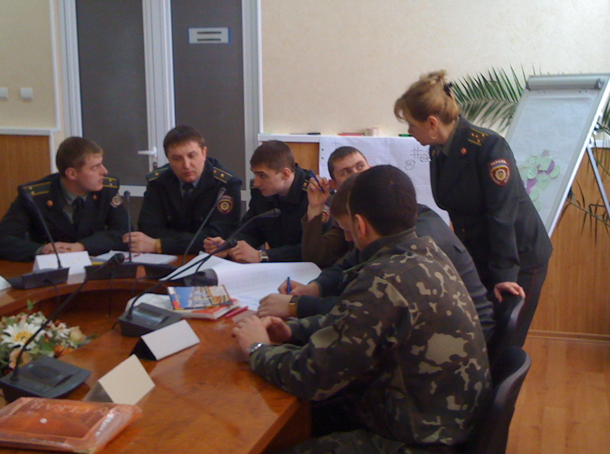 A training of trainers group work session in Ukraine, led by Hans Wahl, November 2014