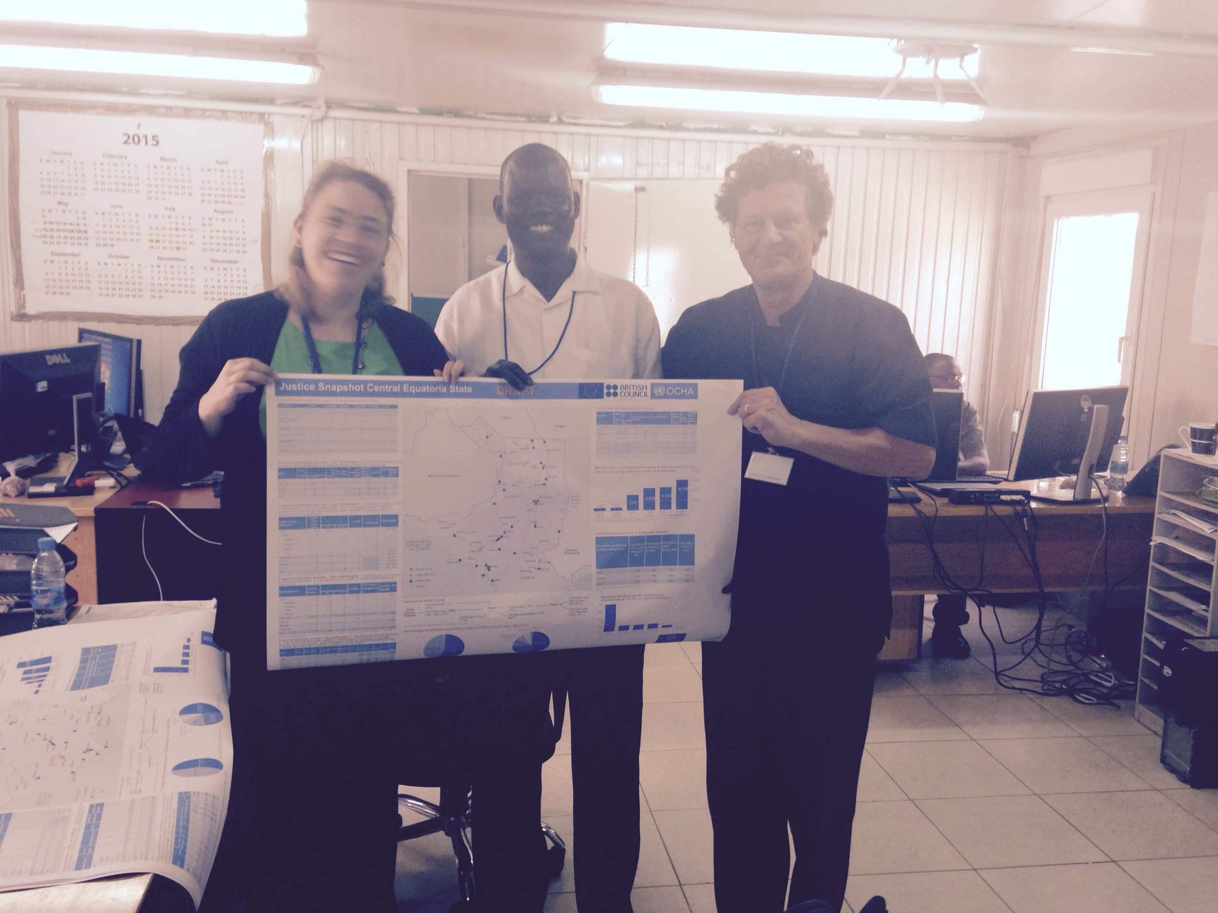 Heather Goldsmith (GJG), Joseph Abeya (UNOCHA) and Adam Stapleton (GJG) - the team that designed the Justice Snapshot of Central Equatoria State, South Sudan