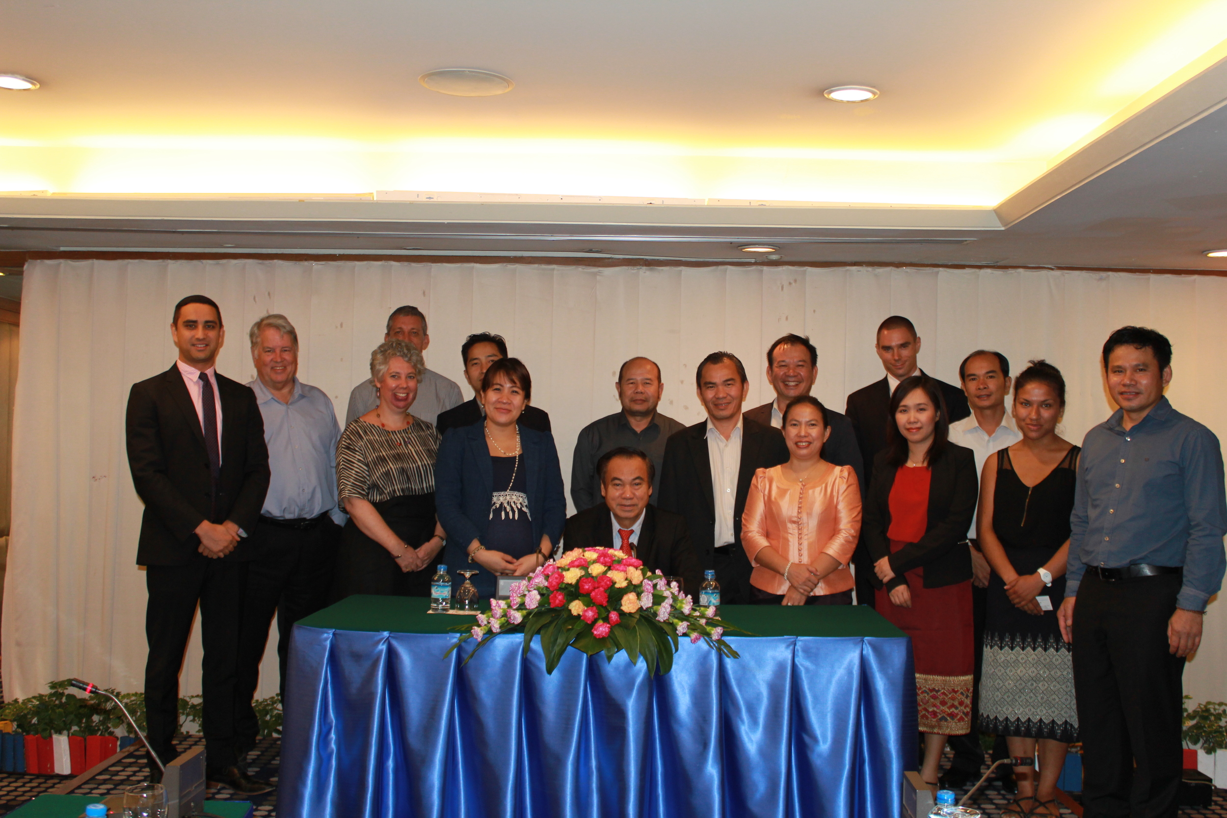 H.E. Professor Ket Kiettisak, Vice-Minister of Justice (centre), joined by colleagues working to finalise the draft bill on countering human trafficking in the Lao PDR