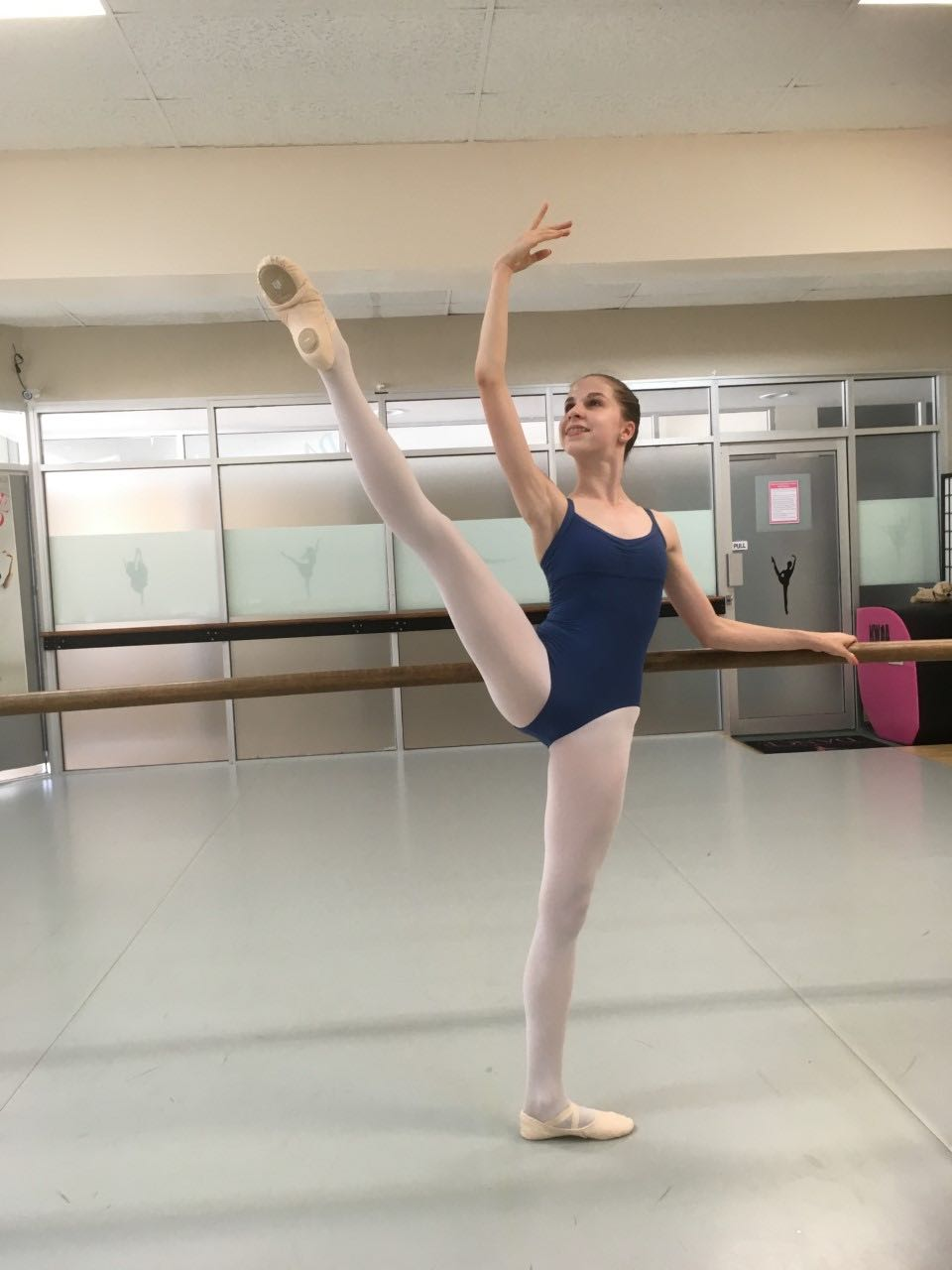 amy, wearing mdm antares leotard and intrinsic reflex ballet shoes
