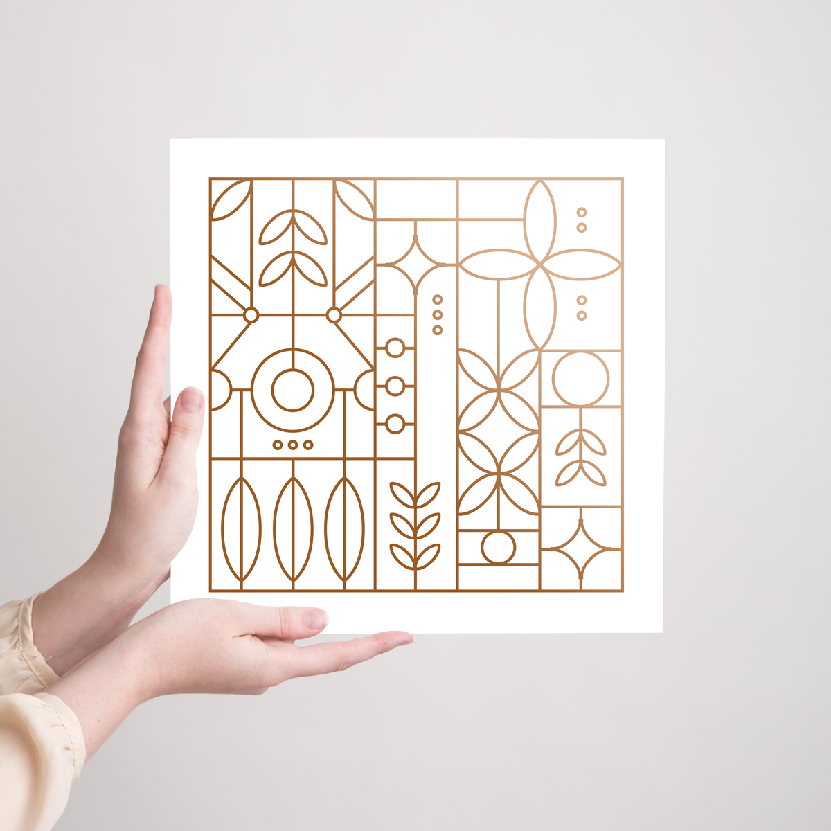 A metallic copper art print is great for the minimalist who likes bright prints with lots of white space. The minimal art style feels a little like stained glass or a Frank Lloyd Wright pattern.