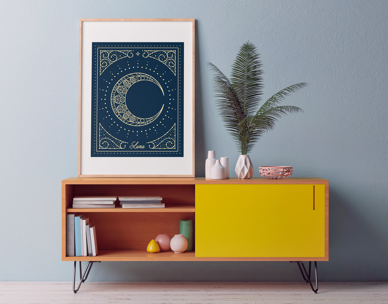 This moon poster is for someone who loves space, tarot cards, astrology or astronomy. It comes in peach or blue.