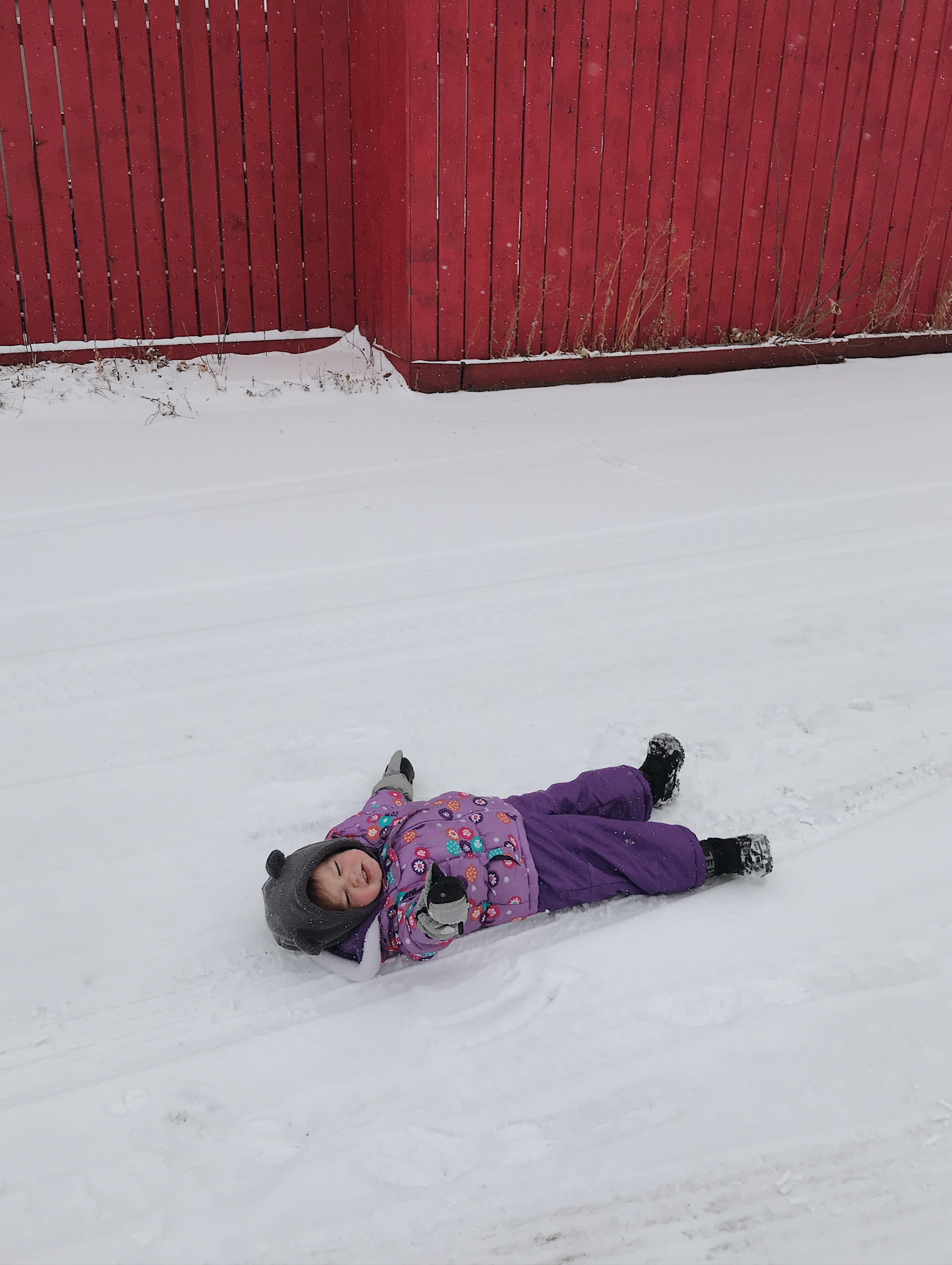 You know the part in Frozen where Olaf the snowman slides down the hill on his stomach? That's all she wants to do.
