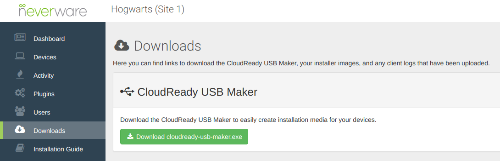 Find the USB Maker in my.Neverware.com's Downloads tab, as shown above.