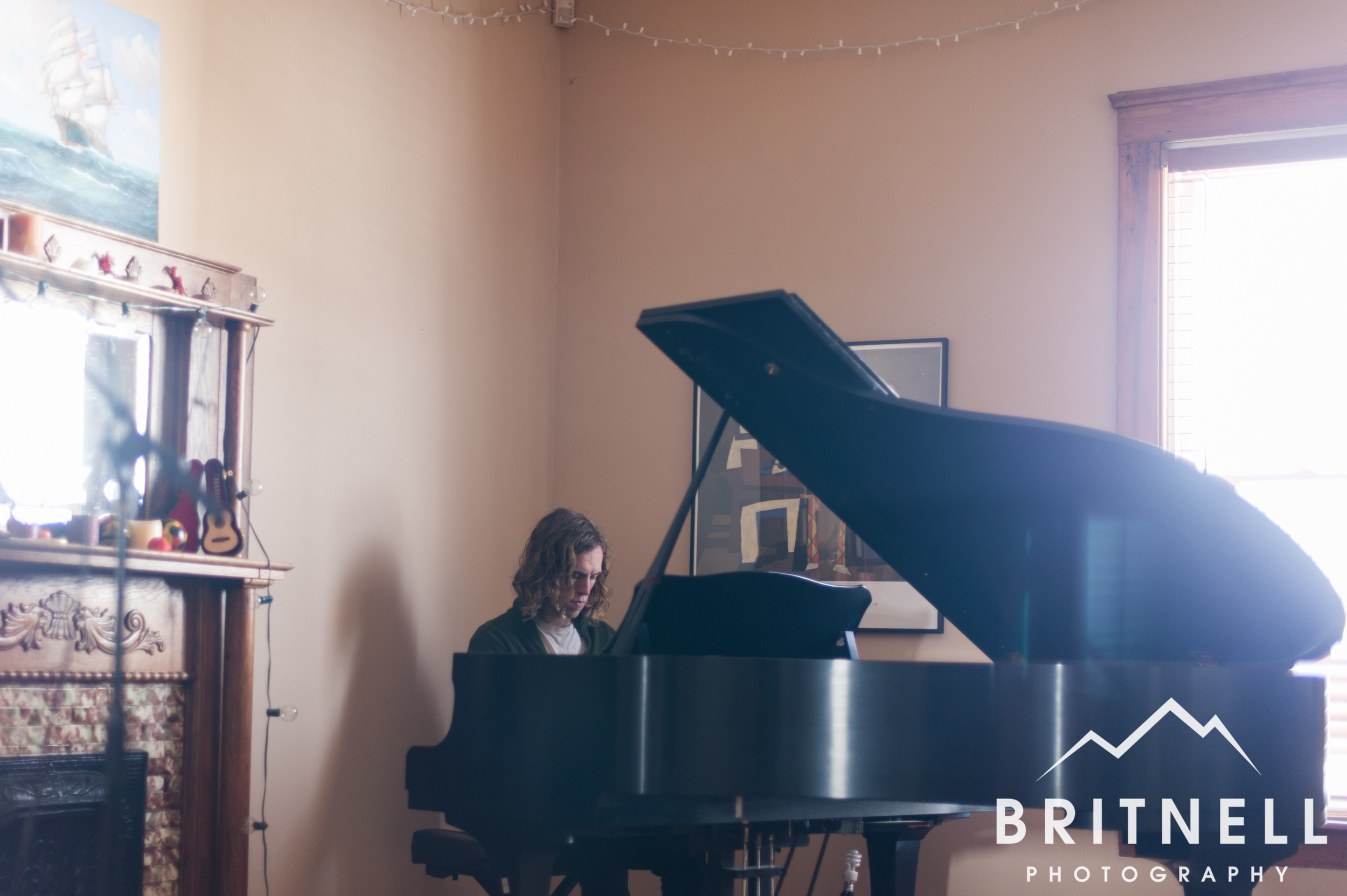 When I got to David's house he was playing his piano waiting on the band to arrive.