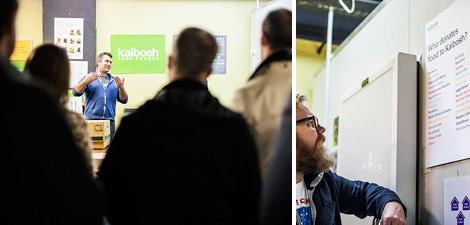 Matt Dagger and crowd at the Kaibosh office.