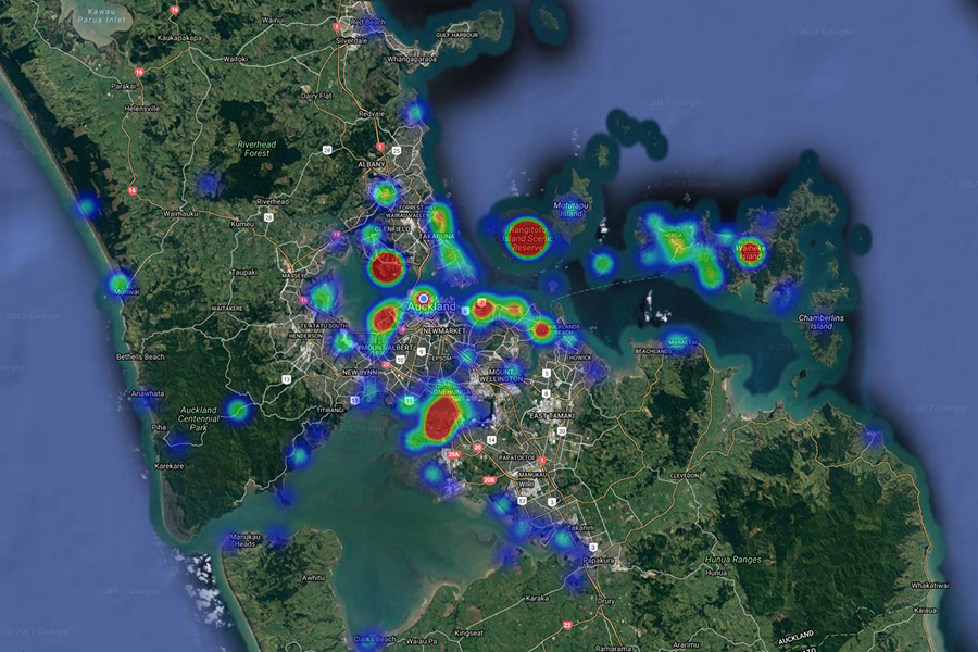 Heat-map of Sustainable Coastlines' clean-up locations in the Auckland region.