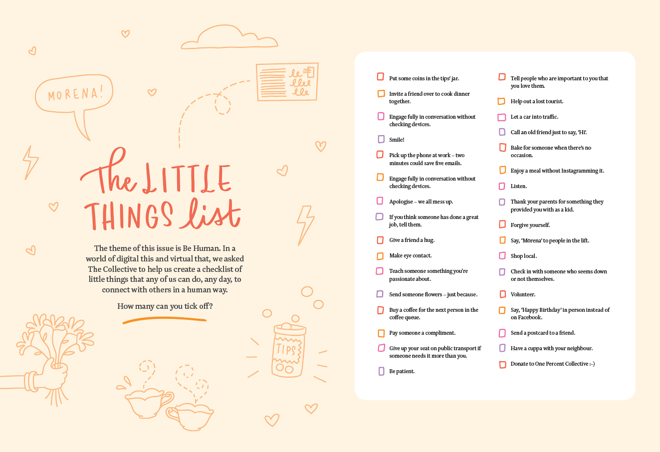 The Little Things List One Percent Collective Generosity Journal
