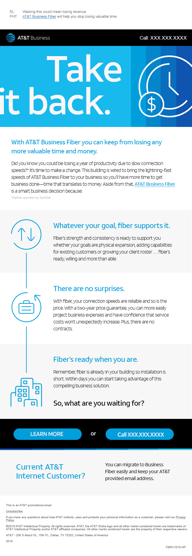 Take it back. - Reasons to sign up for AT&T Business Fiber.