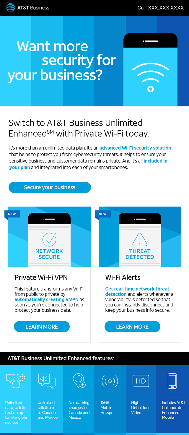 Spectrum - Reasons to switch to AT&T Business Unlimited Enhanced.