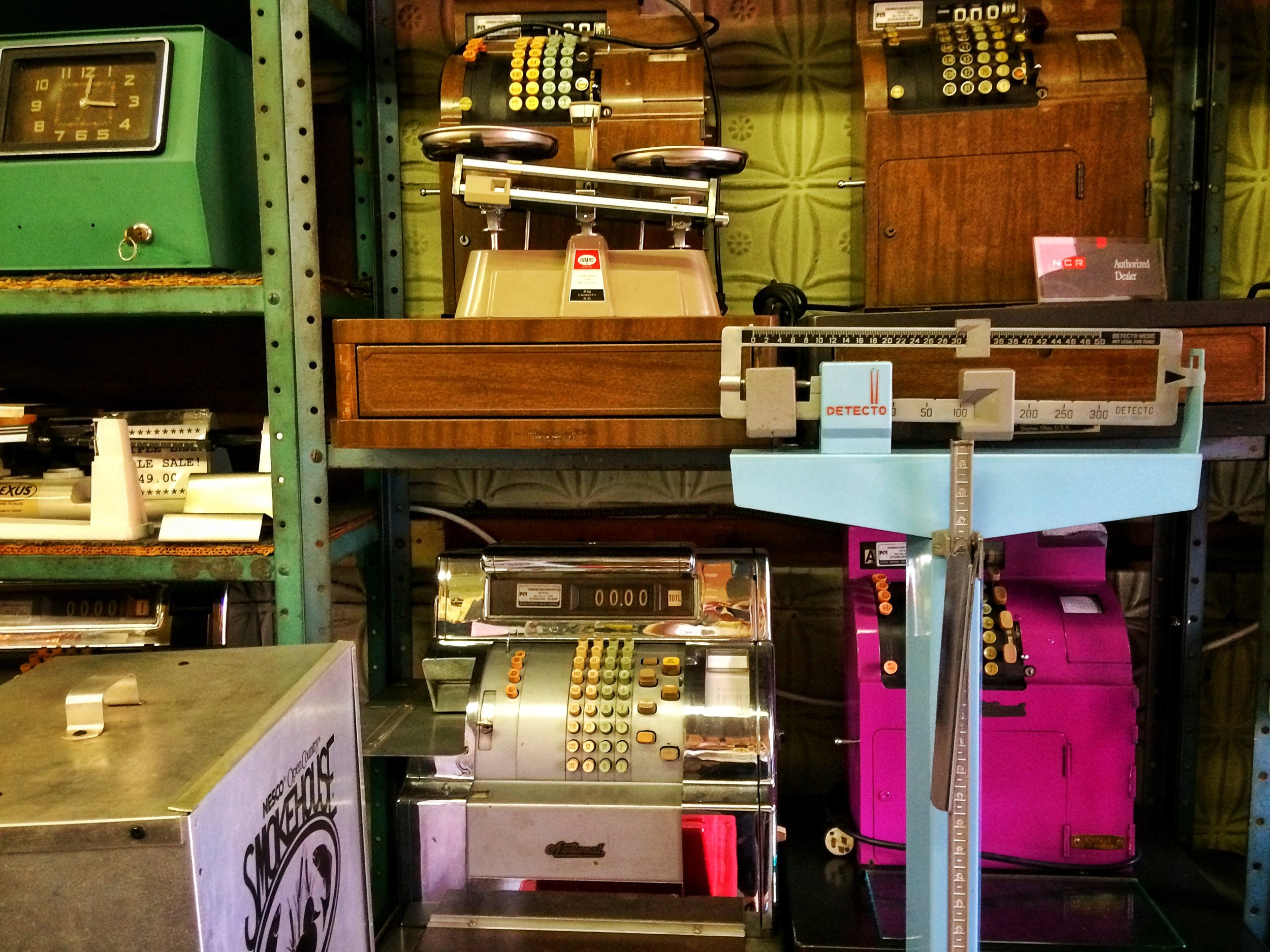 Scales, registers, and wares at Faerman Cash Register Co. Photo credit P. Peterson