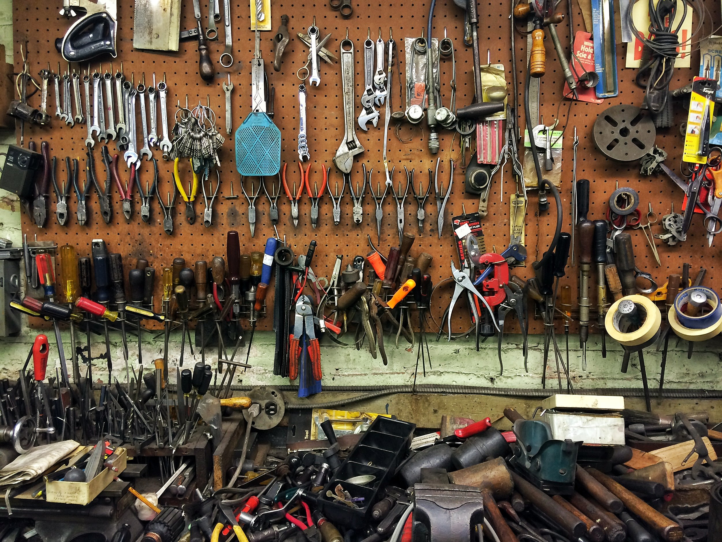 Tools arranged for easy access in Bernard Faerman's workshop. Photo credit P. Peterson