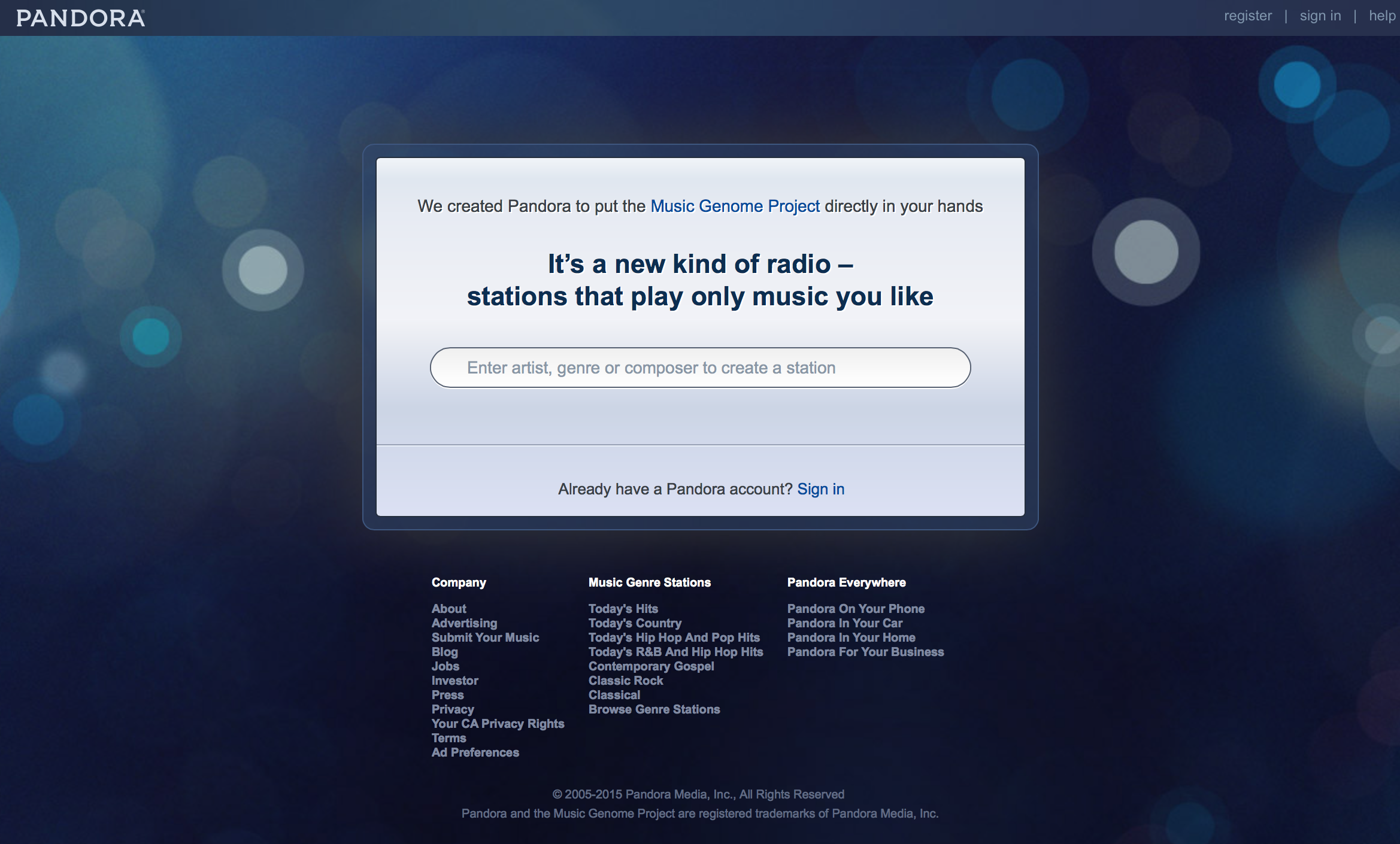 """""""Before"""" - Pandora's landing page for several years before this project."""