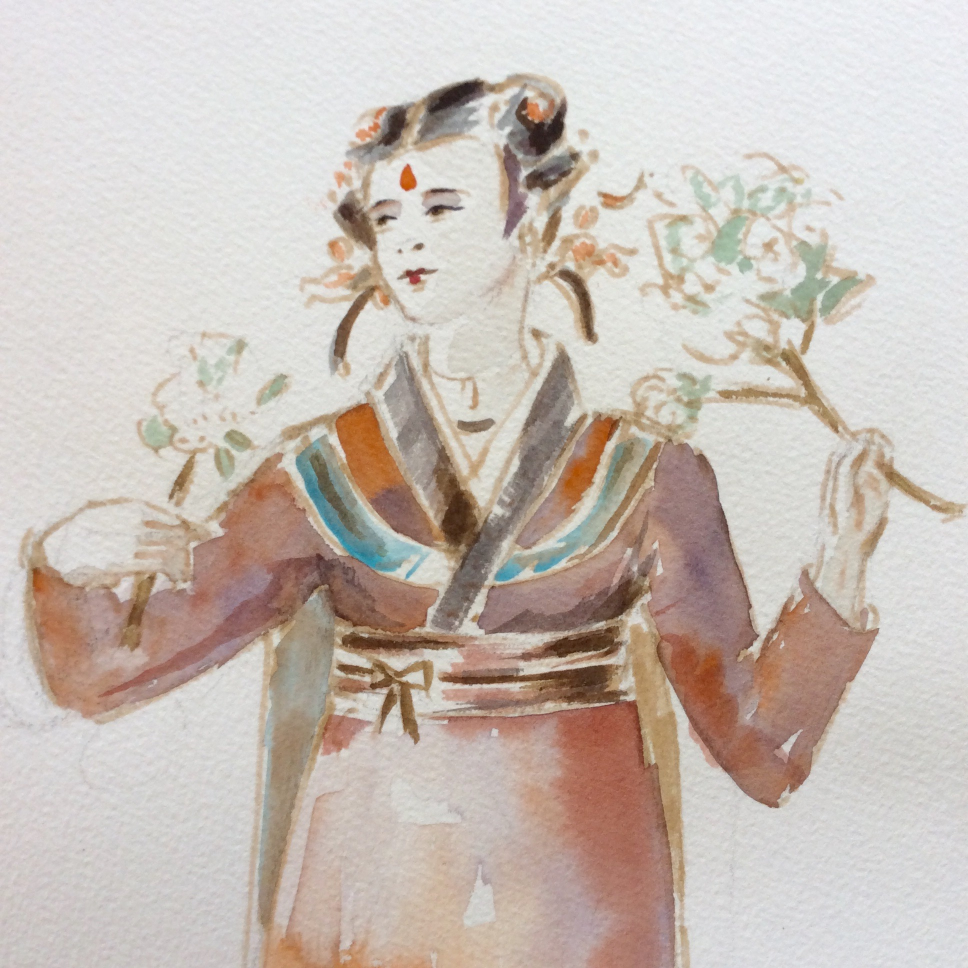 turandot - PUCCINImaquette of an handmaid (detail)watercolor2003