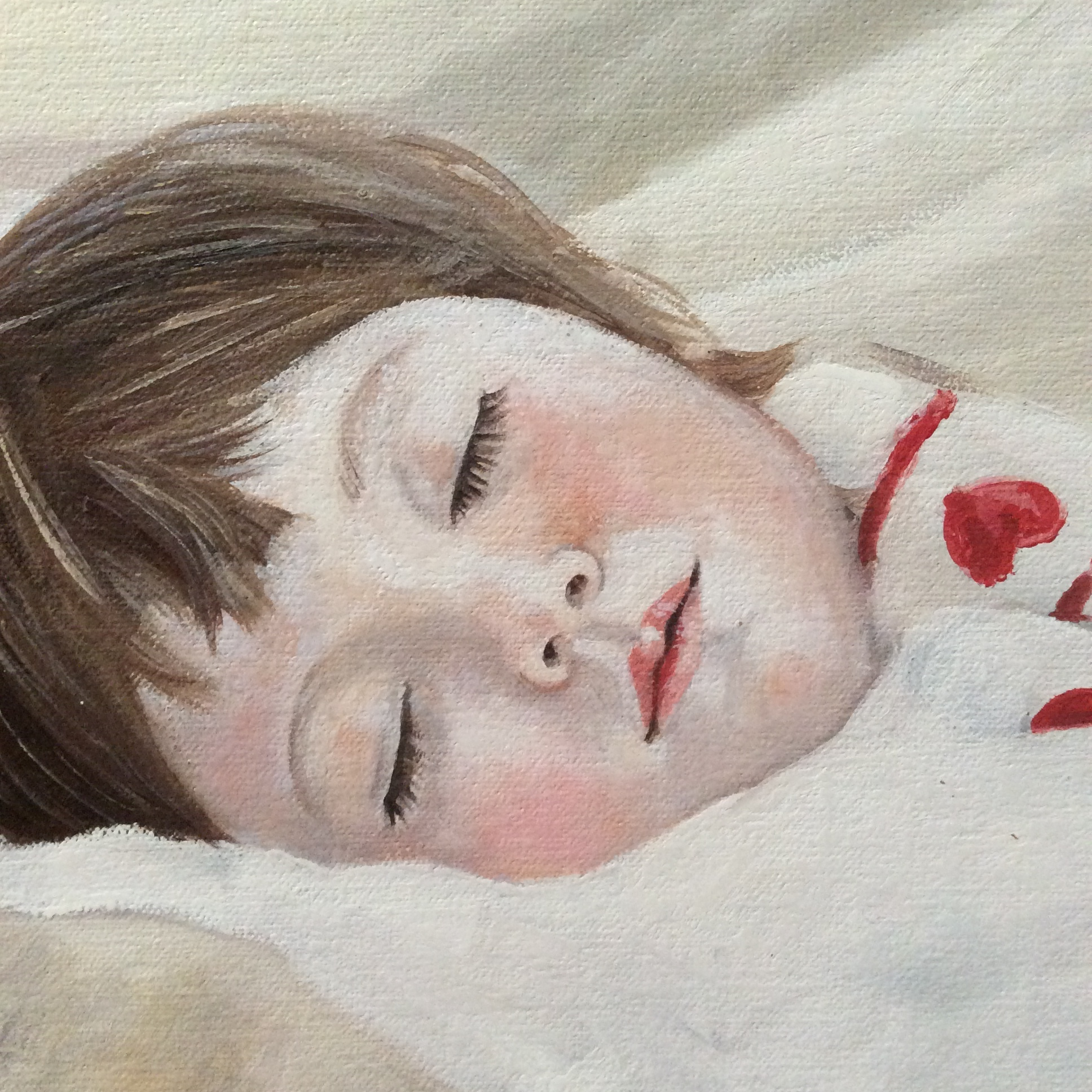 Olivia is sleeping - (detail)oil on canvas     2013