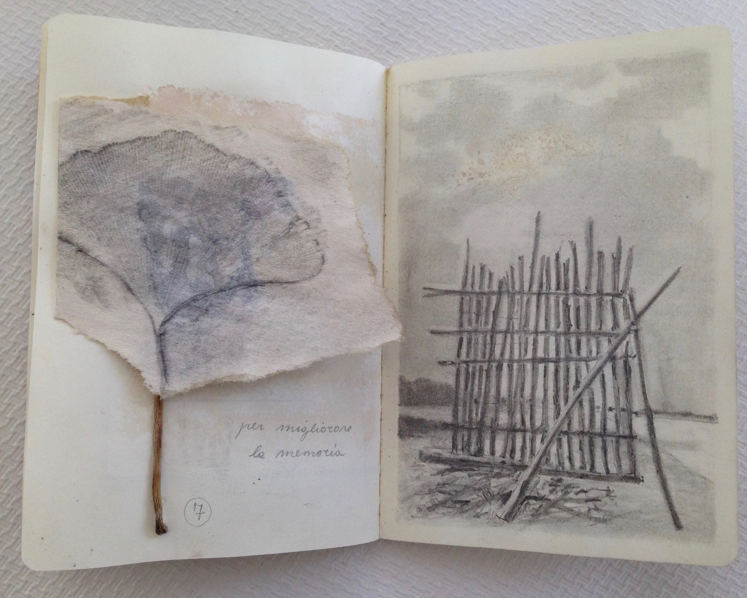 passeggiata silenziosa - pencil drawing- watercolor, collagepersonal project during the workshop with J. Consejo2017