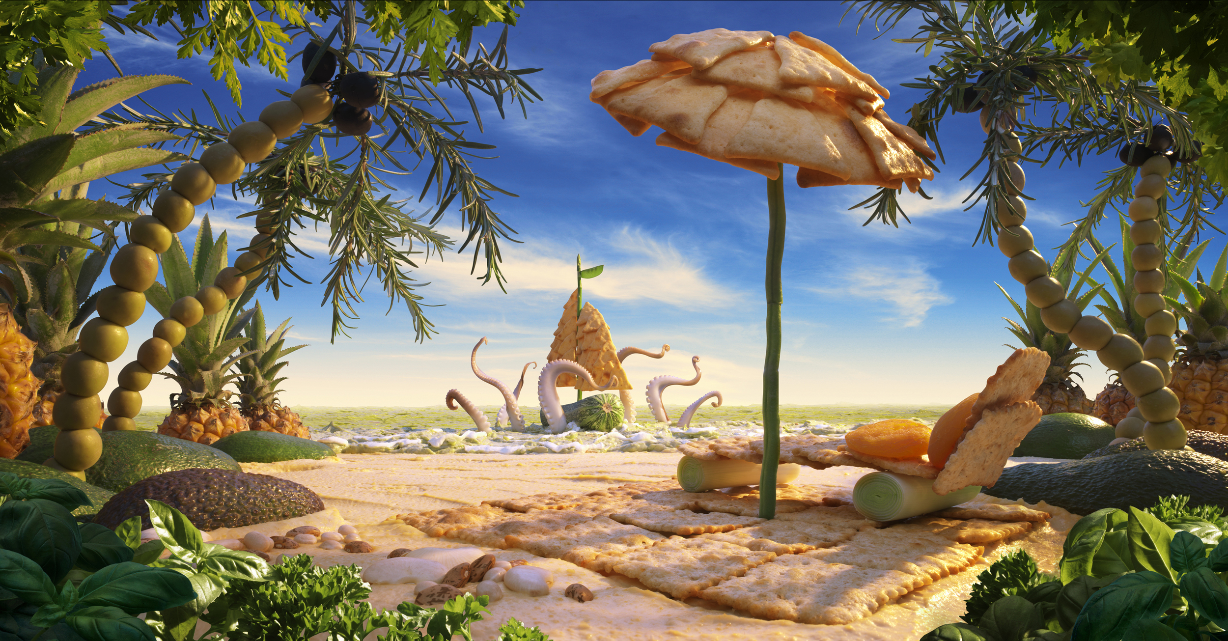 Enjoy your summer lounging on this hummus beach, but WATCH OUT FOR THAT KRAKEN!