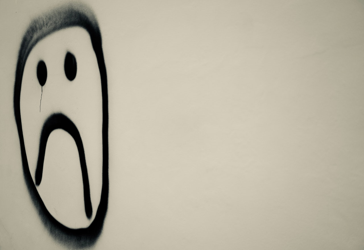 Sad face - image accompanying an article about how to deal with a bad music review
