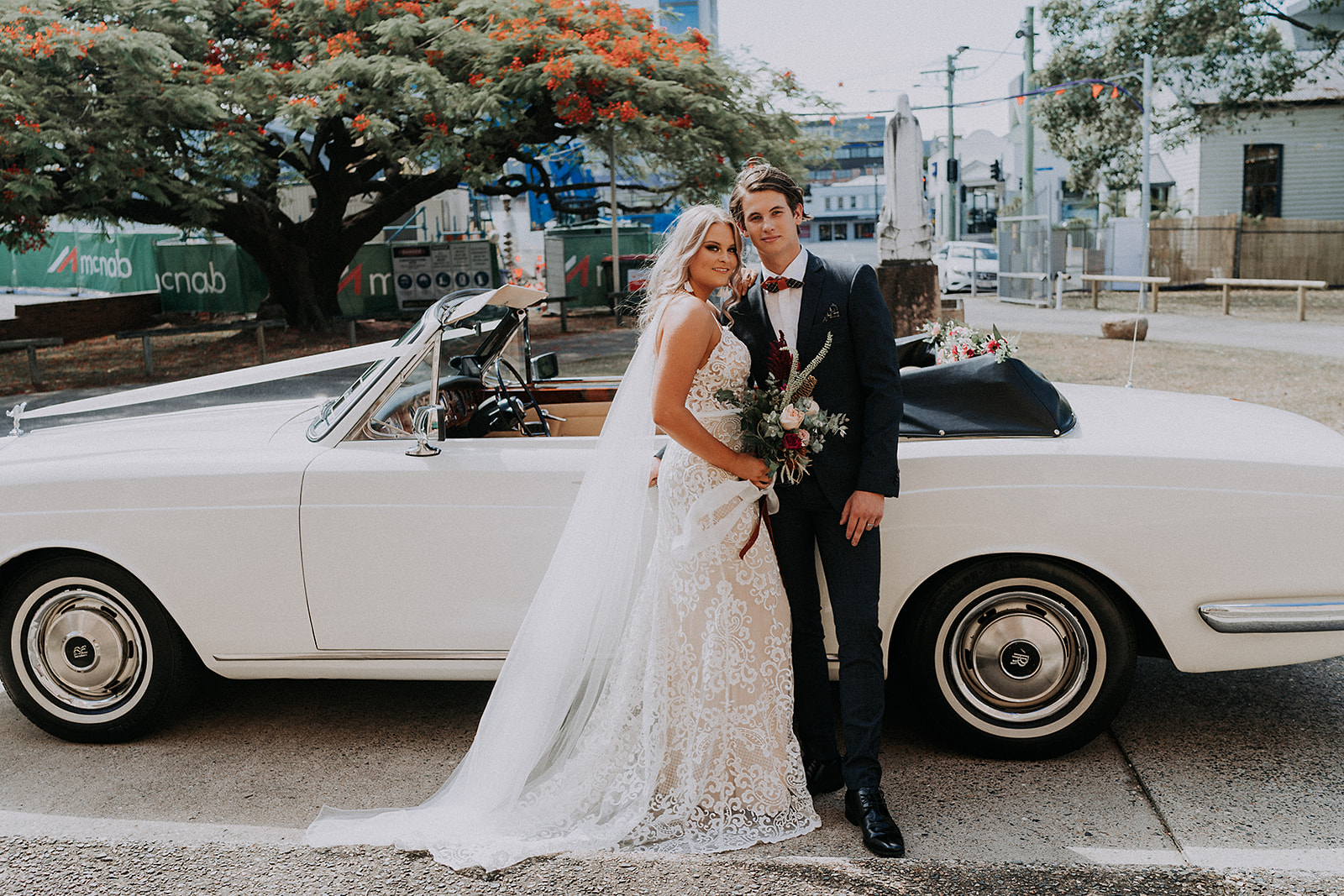 Styled Dapper Wedding Car Bride and Groom