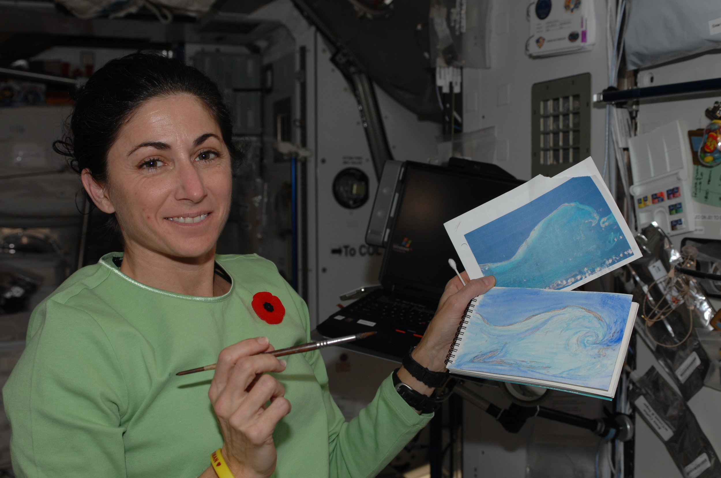 Nicole Stott holding the first painting ever completed in space (Credit: NASA)