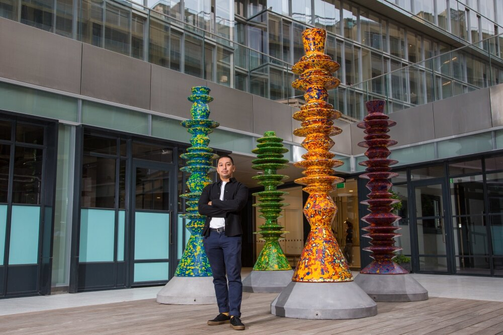 Haffendi's  Machines For Modern Living,  a commissioned outdoor sculptural work for the Battersea Power Station development in London in 2017. Photo: Filepic
