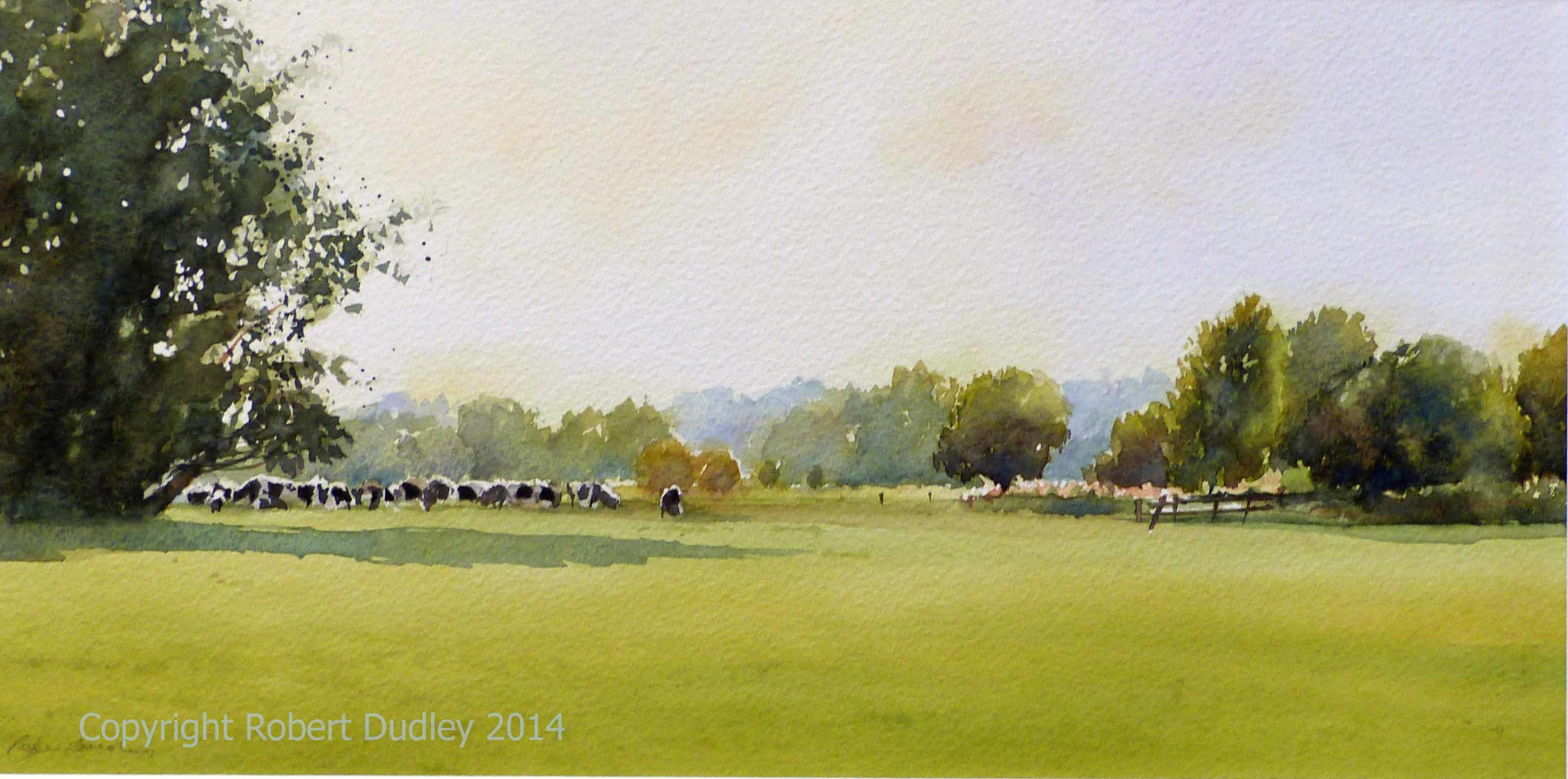 "Cows at Flatford  Watercolour 24"" x 17""  £495 through  DavidsonFine Art. Totnes"