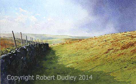 Sunshine with Shadows, Harford, Dartmoor Watercolour  SOLD