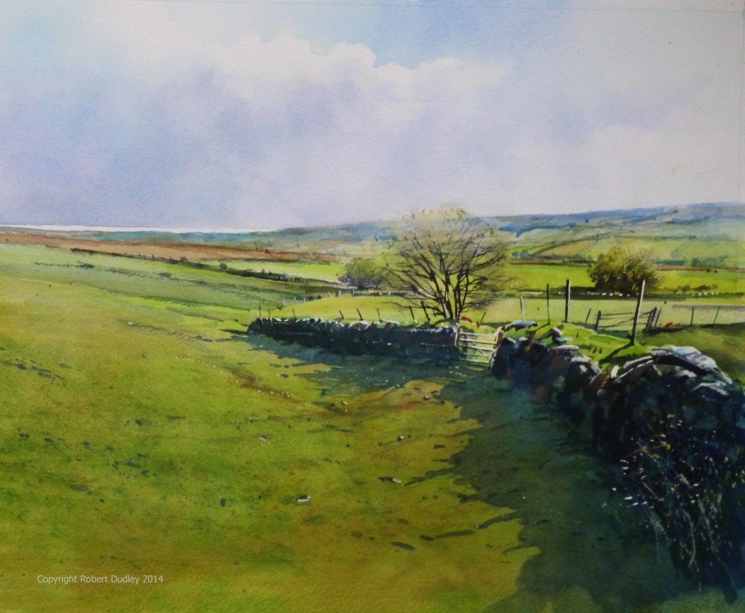 The Edge of Spring, Harford, Dartmoor Watercolour 15'' x 15'' SOLD