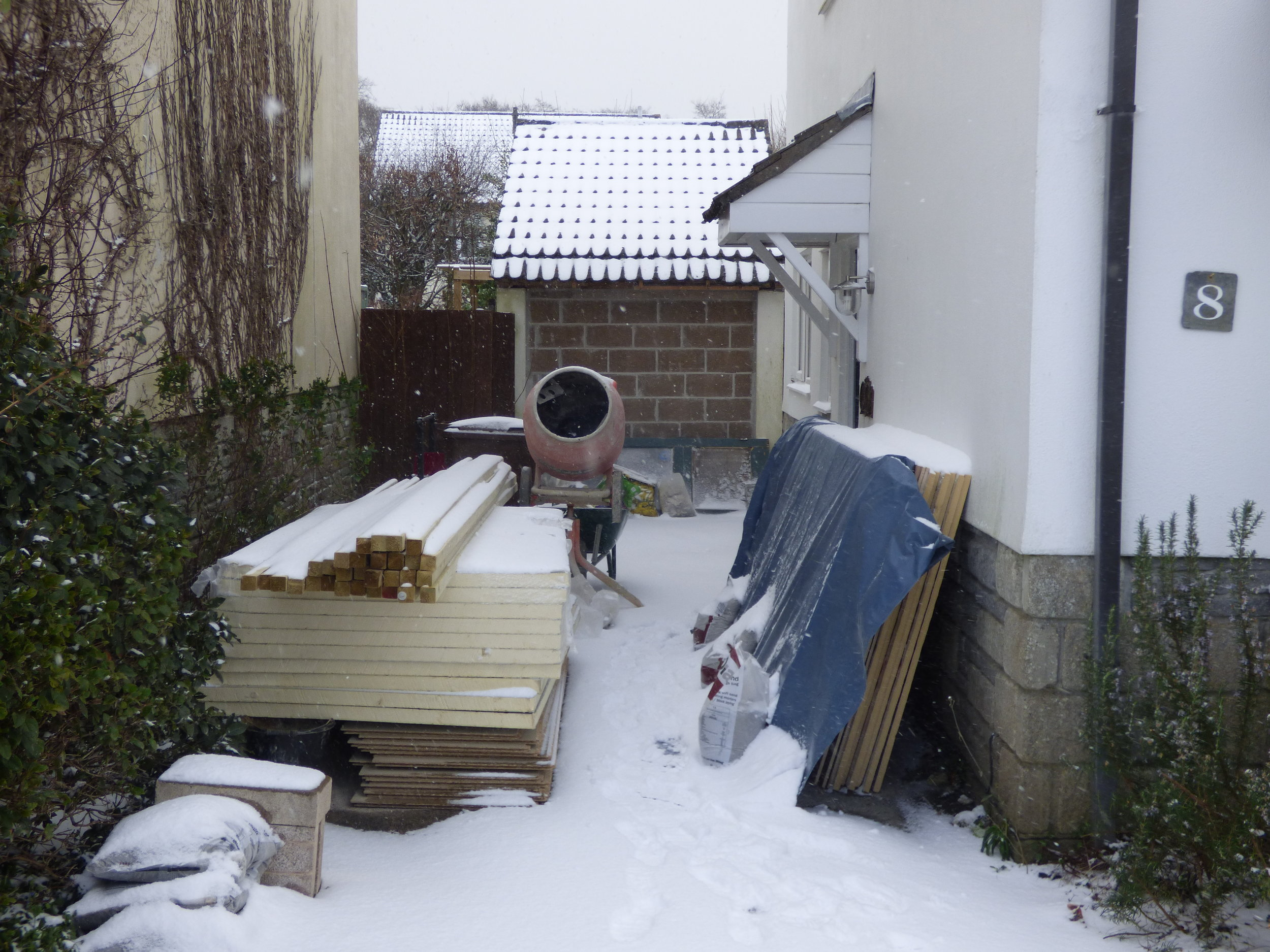 Snow work today.