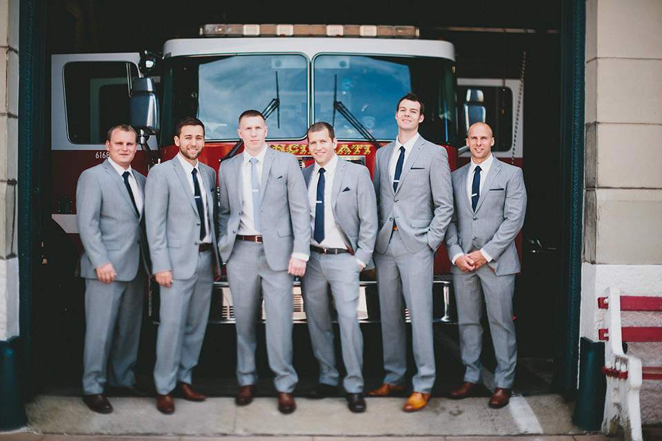 Groomsmen at the Firehouse with a Fire Truck