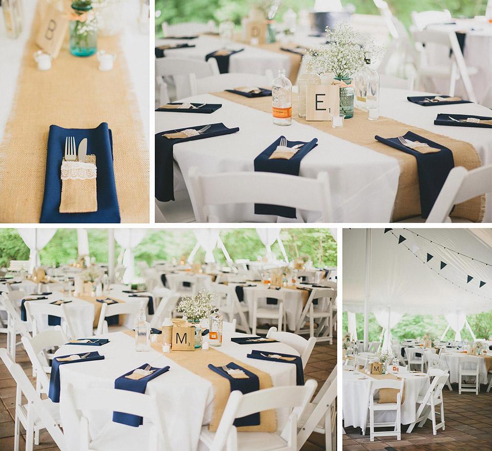 Mason Jars, Burlap, and Bourbon Bottle Center Piece Wedding Reception at the Heritage Center