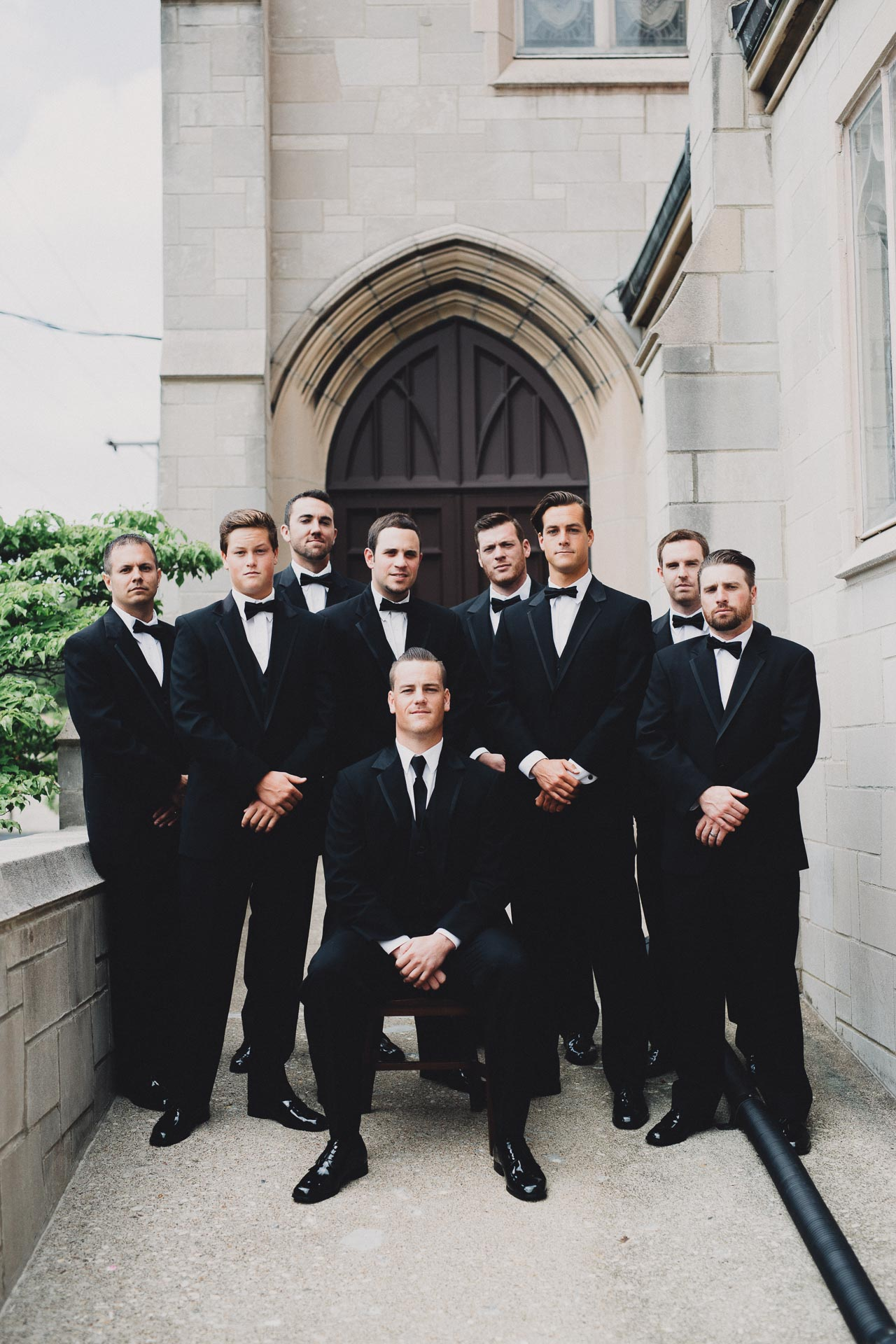 Dapper Groomsmen Black Tuxedo Wedding
